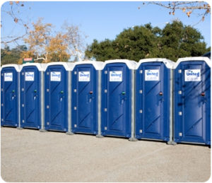 row of porta potties