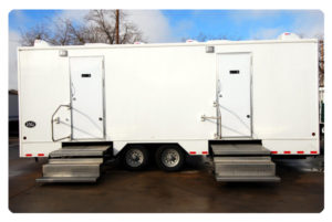 Restroom trailer exterior