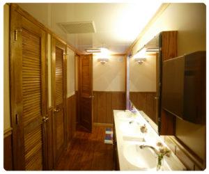 Restroom trailer interior