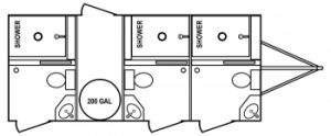 BRR 3 Stall Restroom Shower Trailer Floorplan